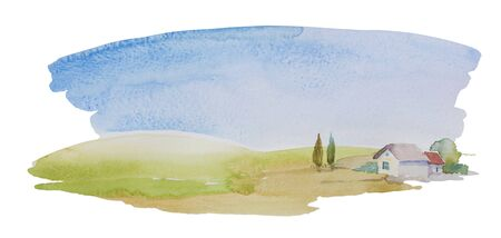 Simple watercolor landscape with meadows and lonely house or farm with some trees. Horizontal rural illustration isolated on white background