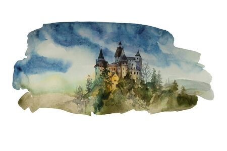 Watercolor backdrop with castle on the hill. Original illustration of medieval european castle isolated on white background