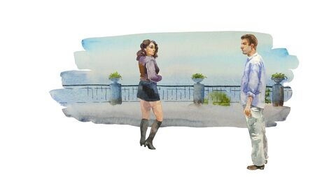 Young brunette girl looking back to the man standing on the embankment, when he has neutral face expression.