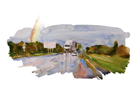 Watercolor landscape with autumn road after the rain, rainbow and some cars and vans on their way. Original transportation backdrop