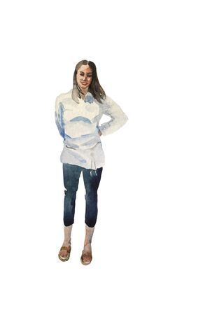 Watercolor sketch of young woman standing in casual closing and smiling. Full body hand paint illustration of brunette girl, isolated on white background