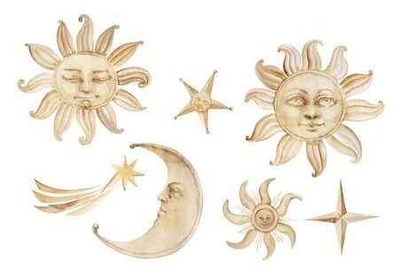 Watercolor antroph-amorphous sun, moon stars and comet sky and weather related elements in vintage style, isolated on white background