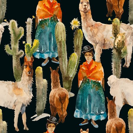 Seamless watercolor pattern with cute alpacas, lamas, girl in traditional colthes and cactuses on dark background. Funny Andes illustration Foto de archivo