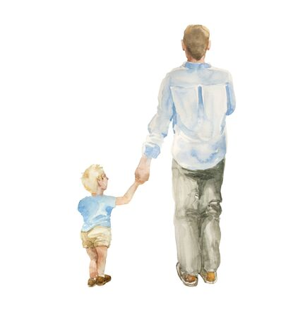 Back view of father and toddler son going together isolated on white background. Original watercolor illustration of fatherhood