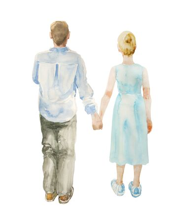 Watercolor illustration of standing couple holding hands, back view. Original relationship illustration isolated on white background