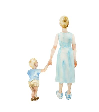 Young mother in a blue dress taking hand of her small toddler son . Back view people illustration, isolated on white background