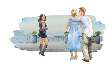 Couple hugs on the street, and brunet girl is jealous about it. Adulter watercolor concept illustration 免版税图像