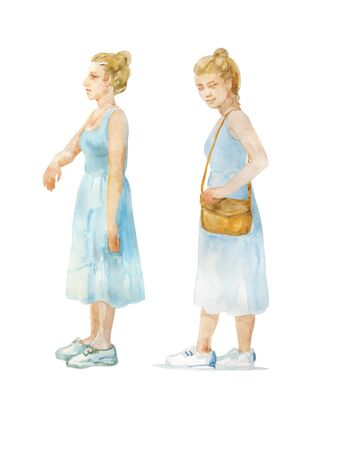 Watercolor girl in blue dress and sneackers side view standing . Two options with different poses, isolated on white background