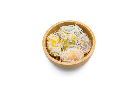 pap: Mung bean rice crepe or Kanom Tua Pap, Thai dessert in wooden bowl on white background