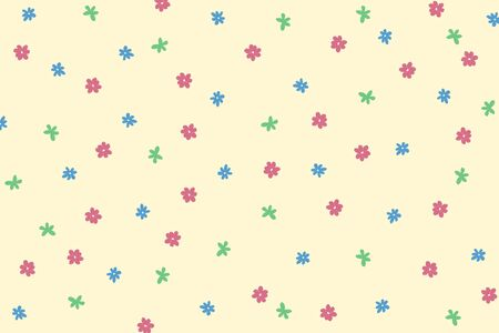 pastel tone: Hand drawn flowers pattern in pastel tone on cream background Stock Photo