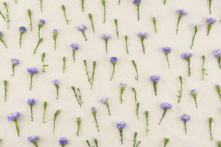 Purple cutter flowers pattern on white muslin fabric Stock Photo