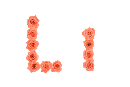 Letter L, alphabet made from orange roses isolated on white background