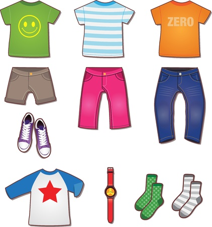 menswear: Colorful Teenage Clothes Fashion Illustration Vector Illustration