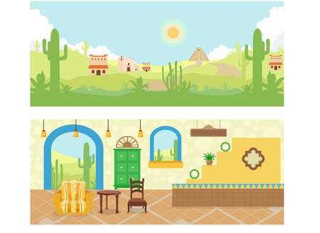 outdoor cafe: Mexican House and Desert Village Illustrations Vector