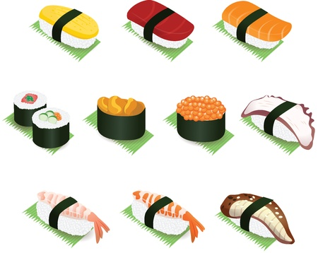 egg roll: Authentic Colorful Japanese Sushi and Rolls Vector Icon Illustration