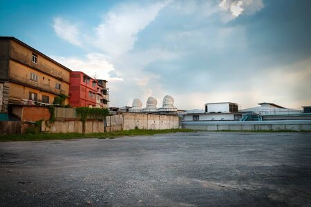 old factory: parking and old factory building in bangkok Stock Photo