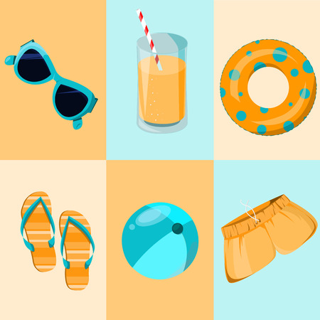 Colorful set. Funny summer time icon.