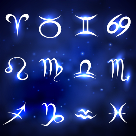pisces star: Shiny zodiac signs of blue space background with stars