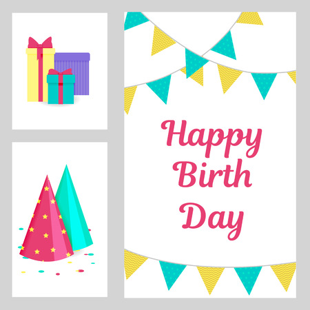 Happy Birthday, greeting and invitation card with gift boxes, party hat, confetti and flags Ilustração