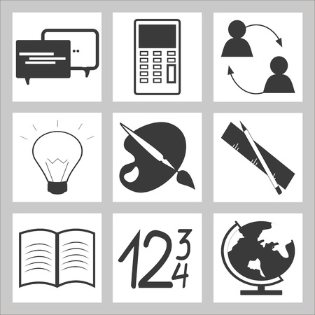 Set of Education and school icon. Gray on white background Illustration