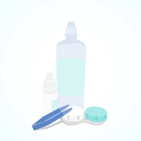 Set of Contact Lenses daily care. Container, daily solution, eye drops and tweezers. Illustration