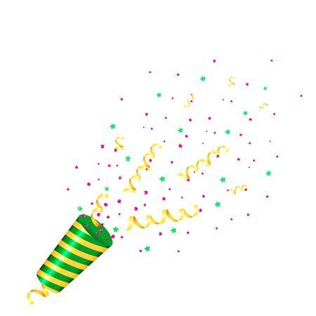 Partido Popper con confeti y serpentina. Aislado Ilustración de vector