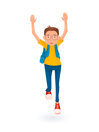 appy boy running with backpack. Back to school. Cartoon style.