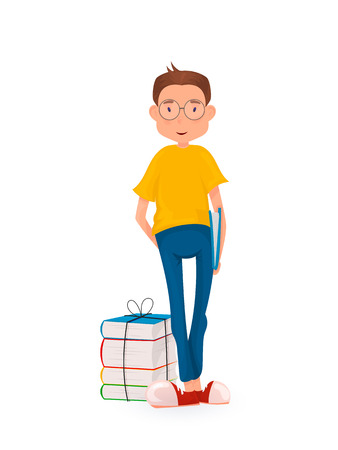 appy boy standing with a stack of books. Back to school. Cartoon style.
