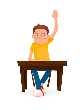 Boy sits at the Desk and pulls his hand. Back to school. Cartoon style.