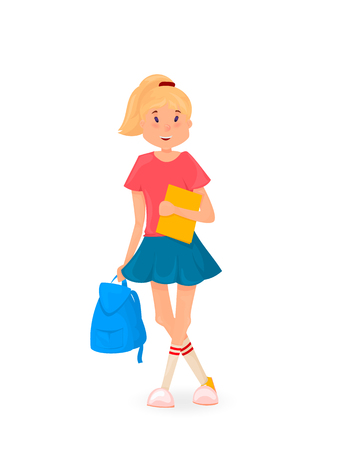 Happy girl standing with backpack and books. Back to school. Cartoon style. Illustration
