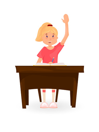 Girl sits at the Desk and pulls his hand. Back to school. Cartoon style. Stock Photo