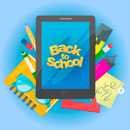 Back to school banner. Tablet with text and School tools. Vector illustration