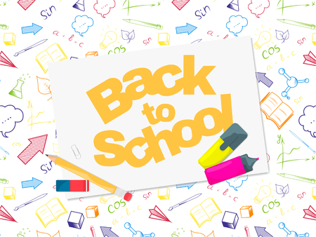 Back to school banner template with colourful hand drawn School object