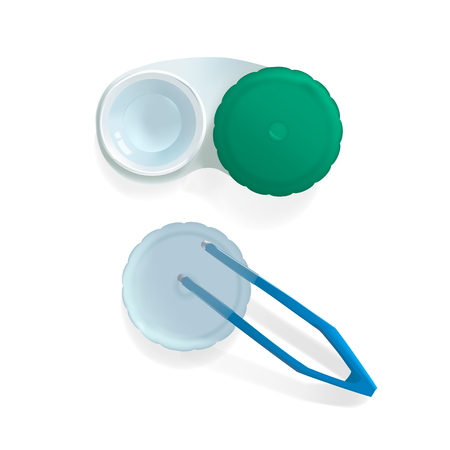 Contact lenses in container with tweezers. Realistic vector illustration on white bacground Illustration