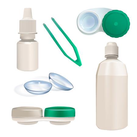 Lentilles de contact, récipients et bouteilles. Ensemble d'objets réalistes. Vecteurs