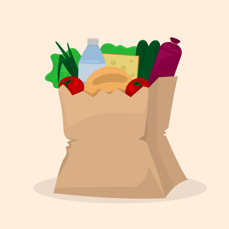 Paper bag with purchase. Food shopping. Illustration