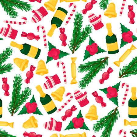 Christmas seamless pattern with colorful objects Illustration