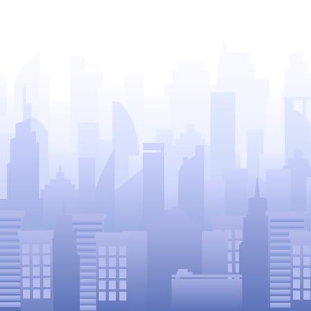Modern city skyline vector illustration. Urban landscape. Buildings silhouette Purple. Illustration