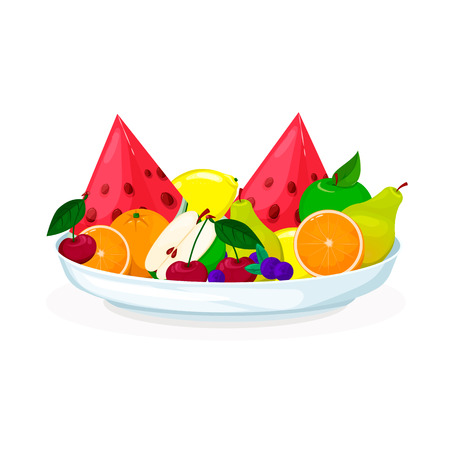 Plate with fruits and berries salad. Fresh healthy food