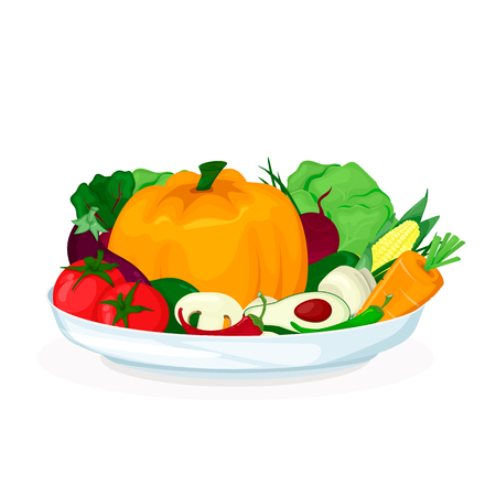 Plate with vegetables salad. Fresh healthy food