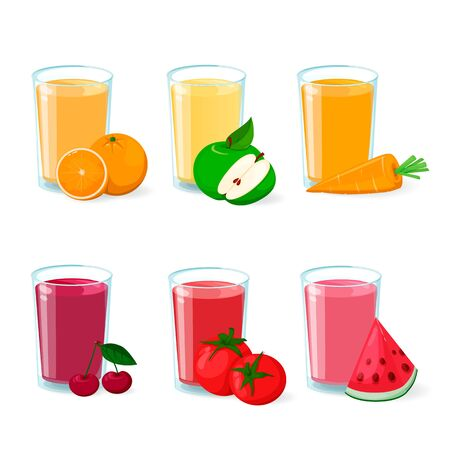 Fresh fruit and vegetable juice in glass. Set of vector icons. Illustration