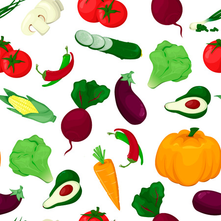 Seamless pattern with colored vegetables. Food fresh vector illustration. Pumpkin peper avocado salad carrot tomat  イラスト・ベクター素材