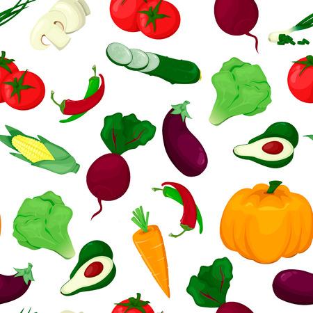 Seamless pattern with colored vegetables. Food fresh vector illustration. Pumpkin peper avocado salad carrot tomat Illustration