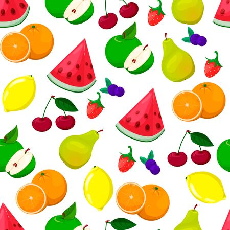 Seamless pattern with colored fruits. Fresh food illustration