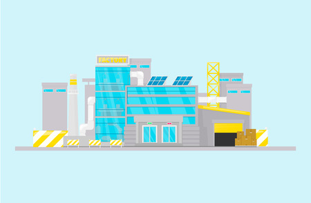 Smart factory. Industry 4.0. Manufacturing building Building concept Cartoon style  イラスト・ベクター素材