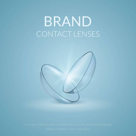 Realistic banner of contact lenses. Medical and cosmetic illustration design template. Vector