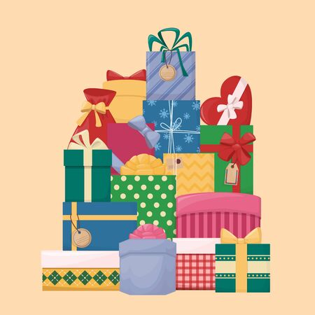 Pile of cartoon gift boxes with bows and ribbons. Vector illustration Illustration