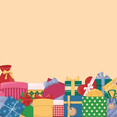 Colorfull gift boxes. Vector background with a border. Cartoon style