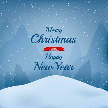 Christmas background with text. Snow flakes. Winter. Vector cartooon illustration.