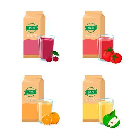 Vector set of juice. Box package, glass and fruit. Orange, cherry, tomato, apple Illustration